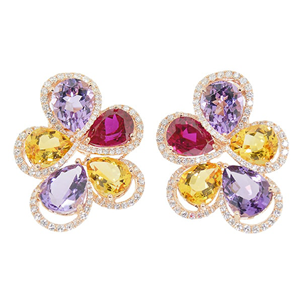 Earring Colored Stone 0045